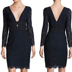 Diane Von Furstenberg navy blue Viera lace dress